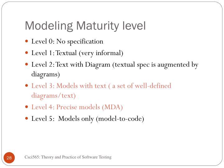 Modeling Maturity level
