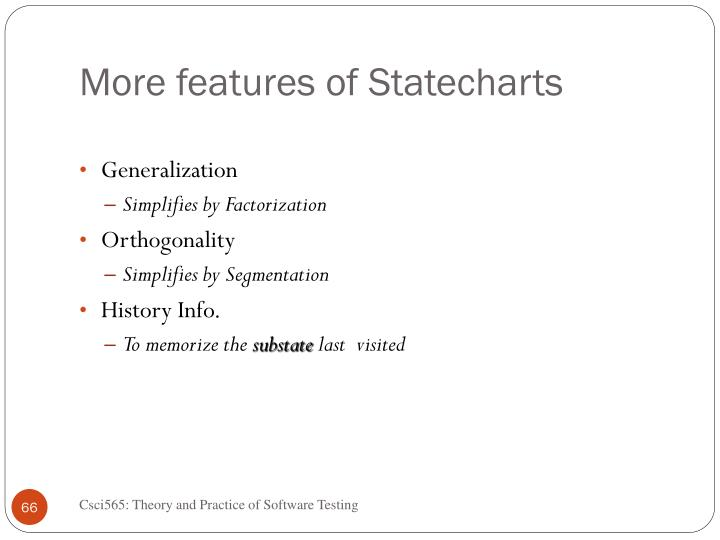 More features of Statecharts
