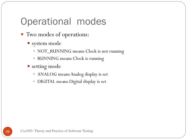 Operational  modes