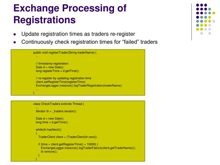 Exchange Processing of Registrations