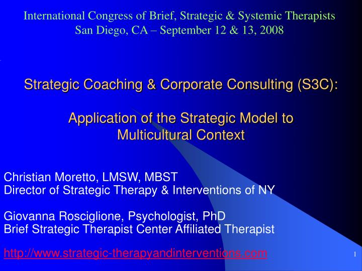 International Congress of Brief, Strategic & Systemic Therapists