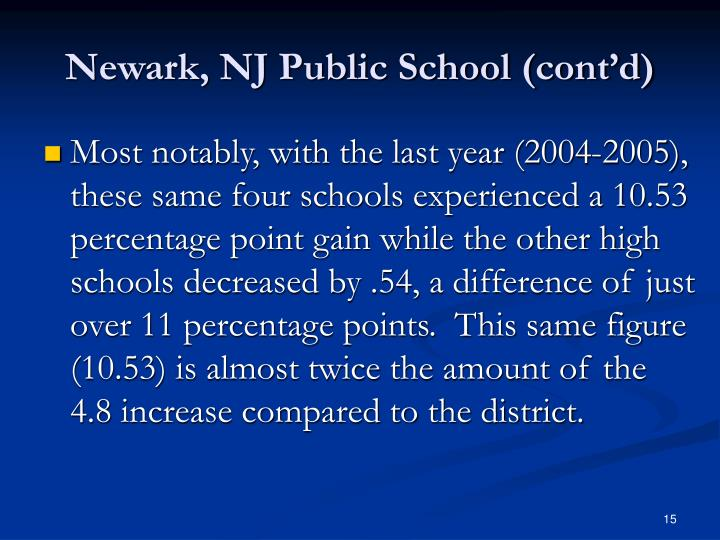 Newark, NJ Public School (cont'd)