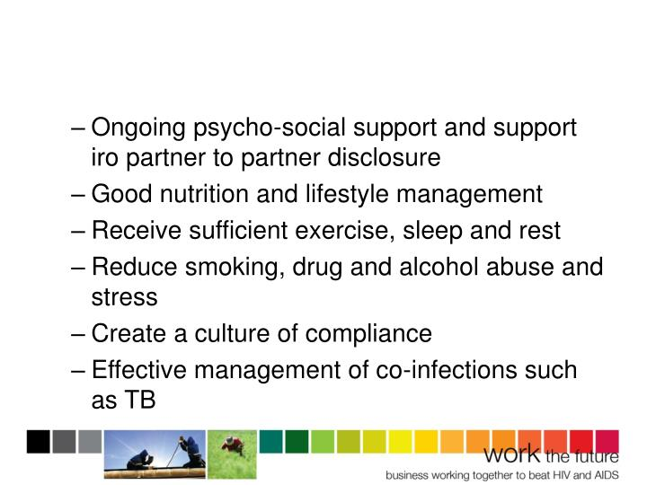 Ongoing psycho-social support and support iro partner to partner disclosure