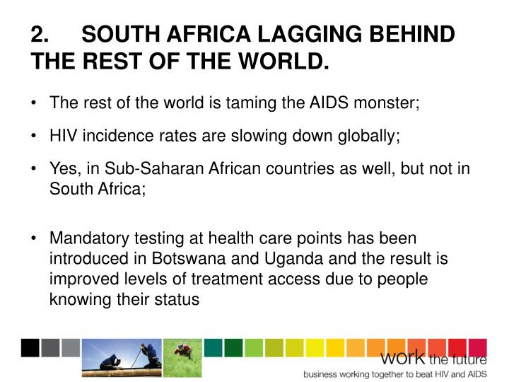 2.SOUTH AFRICA LAGGING BEHIND THE REST OF THE WORLD.