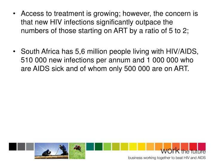 Access to treatment is growing; however, the concern is that new HIV infections significantly outpace the numbers of those starting on ART by a ratio of 5 to 2;