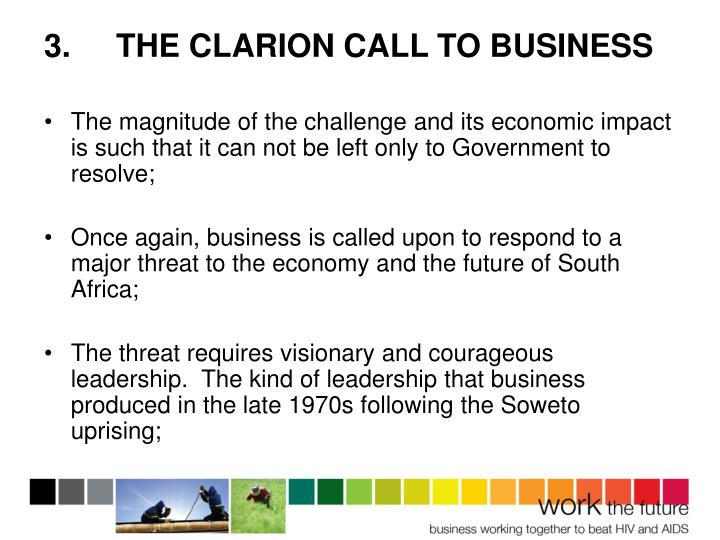 3.THE CLARION CALL TO BUSINESS