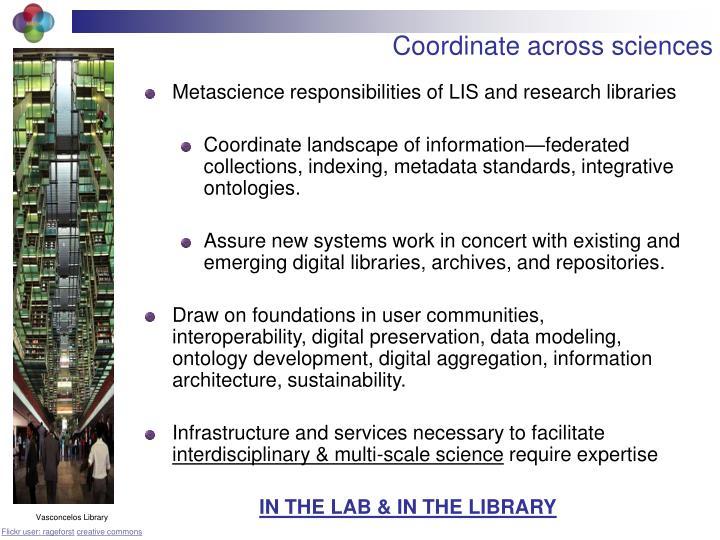 Coordinate across sciences