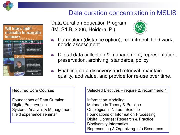 Data curation concentration in MSLIS