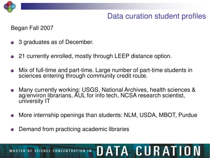 Data curation student profiles