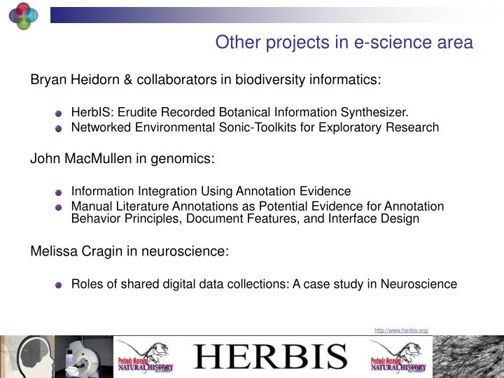 Other projects in e-science area