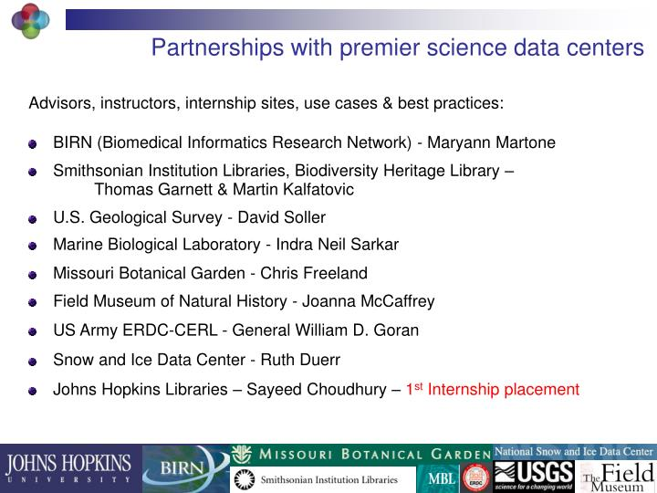 Partnerships with premier science data centers