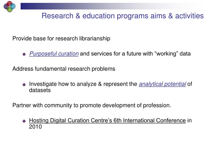 Research & education programs aims & activities