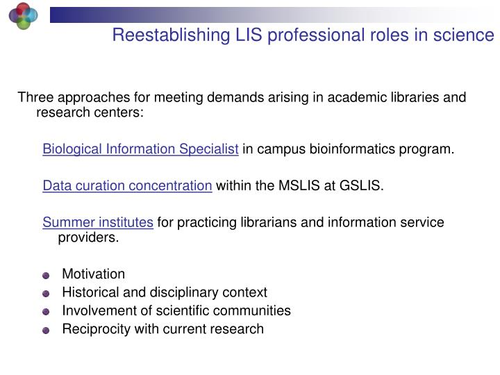 Reestablishing LIS professional roles in science