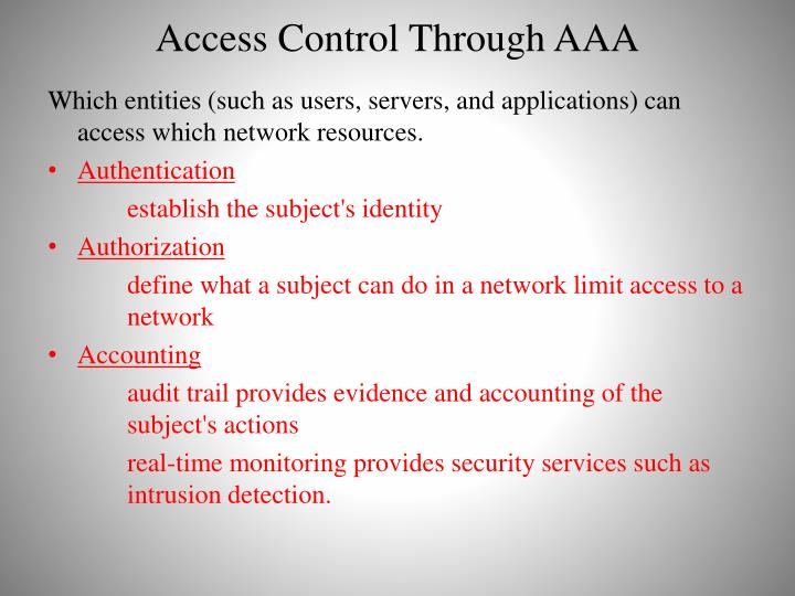 Access Control Through AAA