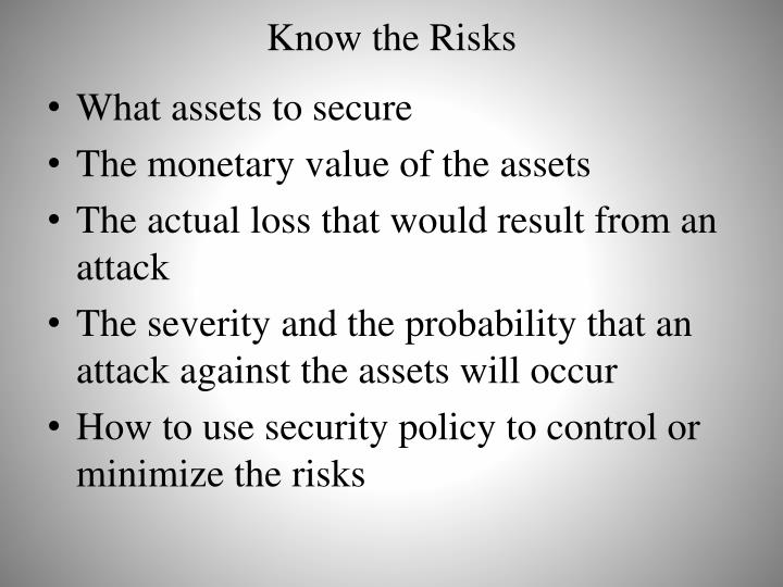 Know the Risks