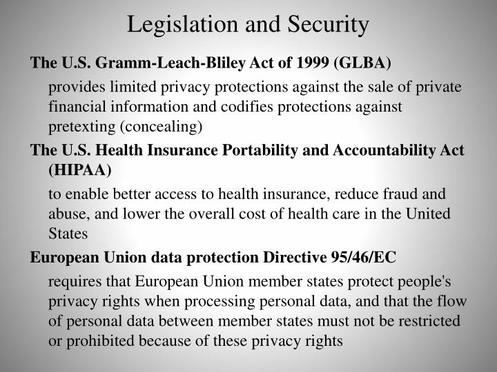 Legislation and Security