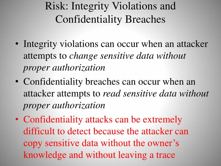 Risk: Integrity Violations and Confidentiality Breaches