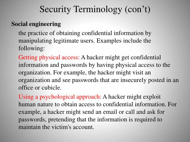 Security Terminology (con't)
