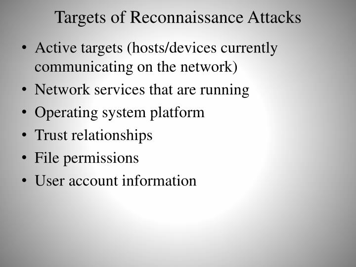 Targets of Reconnaissance Attacks
