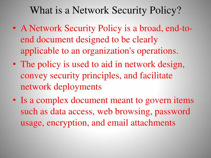 What is a Network Security Policy?
