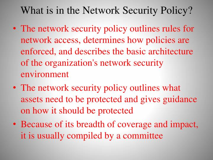 What is in the Network Security Policy?