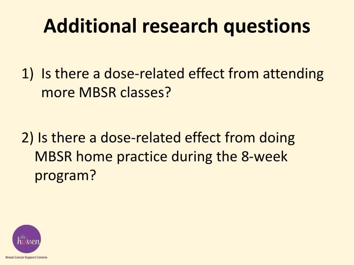 Additional research questions