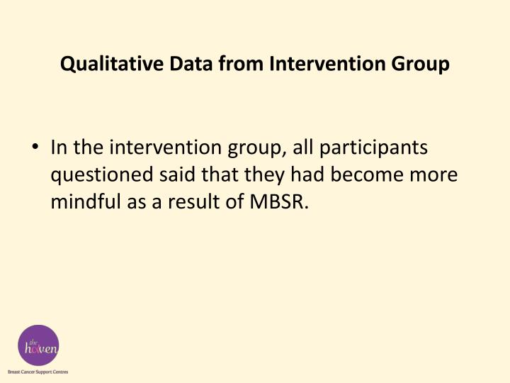 Qualitative Data from Intervention Group