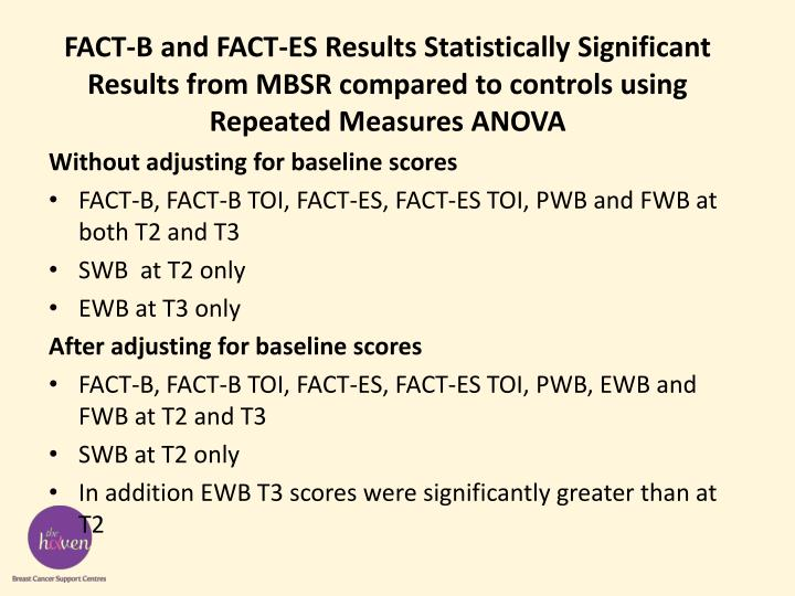 FACT-B and FACT-ES Results Statistically Significant Results from MBSR compared to controls using