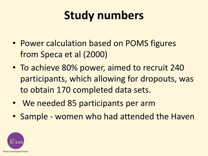 Study numbers
