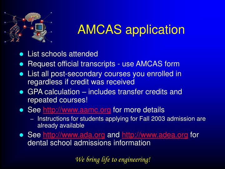 AMCAS application