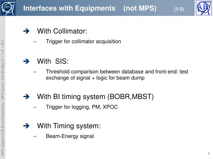 Interfaces with Equipments    (not MPS)