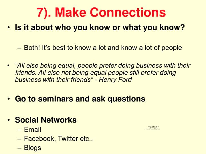 7). Make Connections