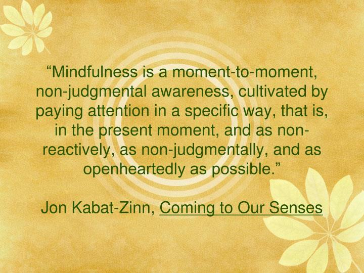 """""""Mindfulness is a moment-to-moment, non-judgmental awareness, cultivated by paying attention in a specific way, that is, in the present moment, and as non-reactively, as non-judgmentally, and as openheartedly as possible."""""""