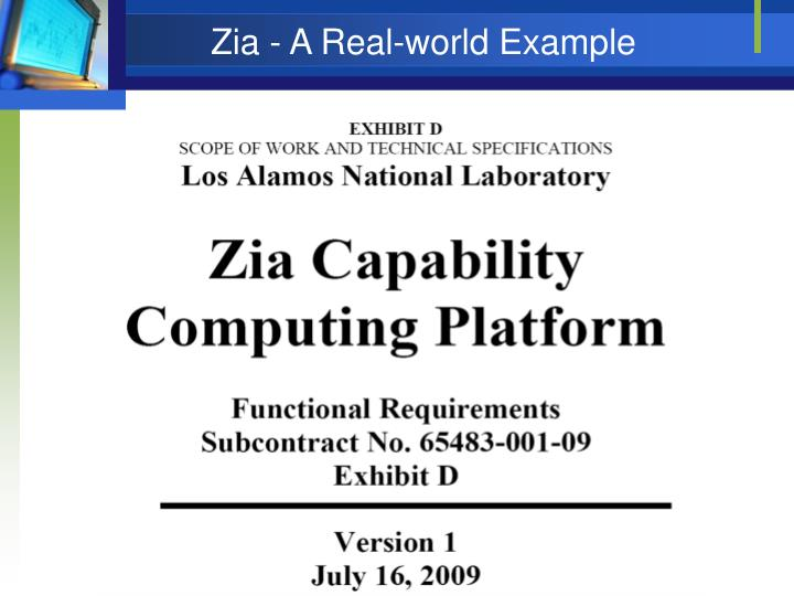 Zia - A Real-world Example