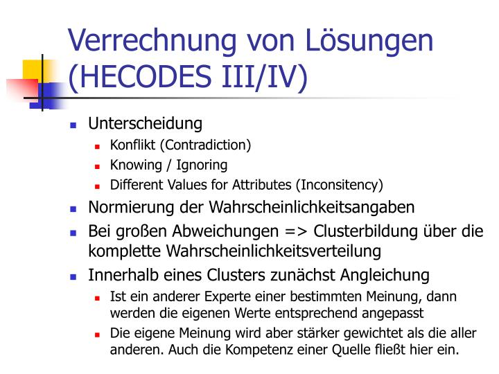 Verrechnung von Lösungen (HECODES III/IV)