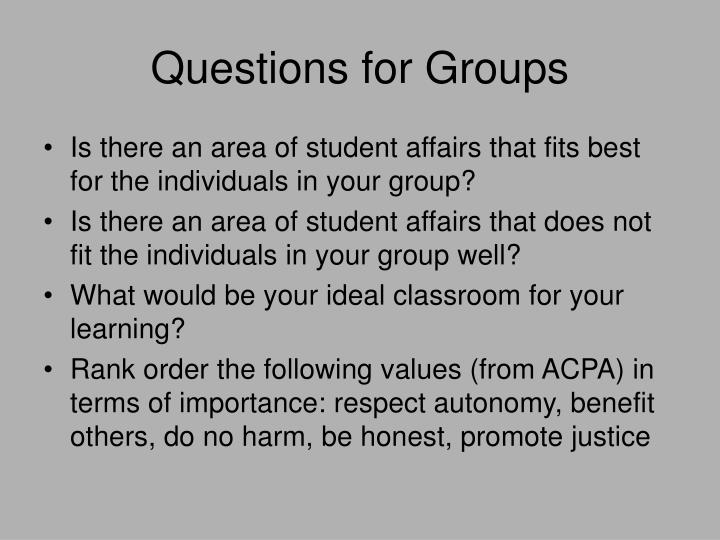 Questions for Groups