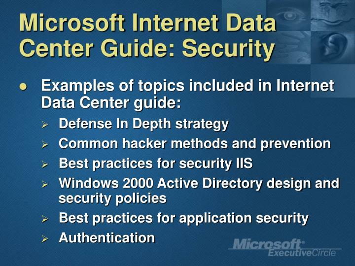 Microsoft Internet Data Center Guide: Security