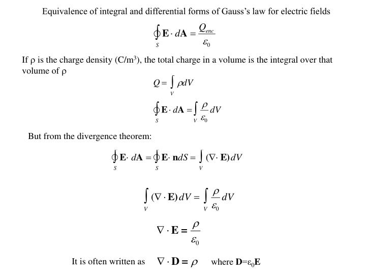 Equivalence of integral and differential forms of Gauss's law for electric fields