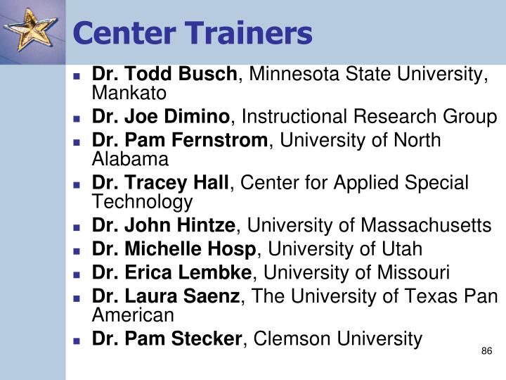 Center Trainers
