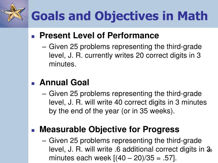 Goals and Objectives in Math