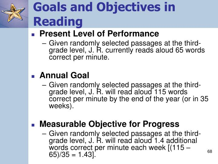 Goals and Objectives in Reading