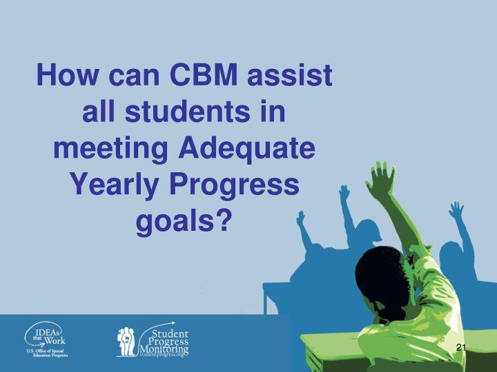 How can CBM assist all students in meeting Adequate Yearly Progress goals?