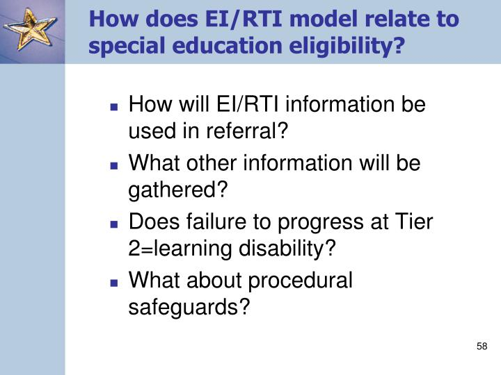 How does EI/RTI model relate to special education eligibility?