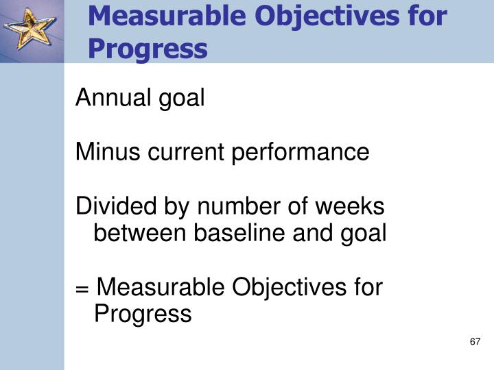 Measurable Objectives for Progress