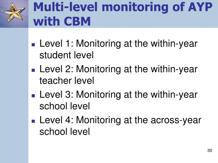 Multi-level monitoring of AYP with CBM