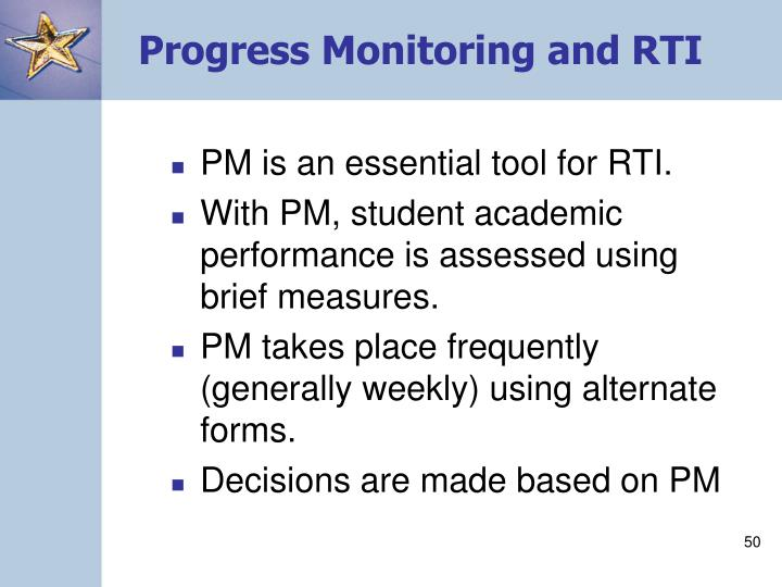 Progress Monitoring and RTI