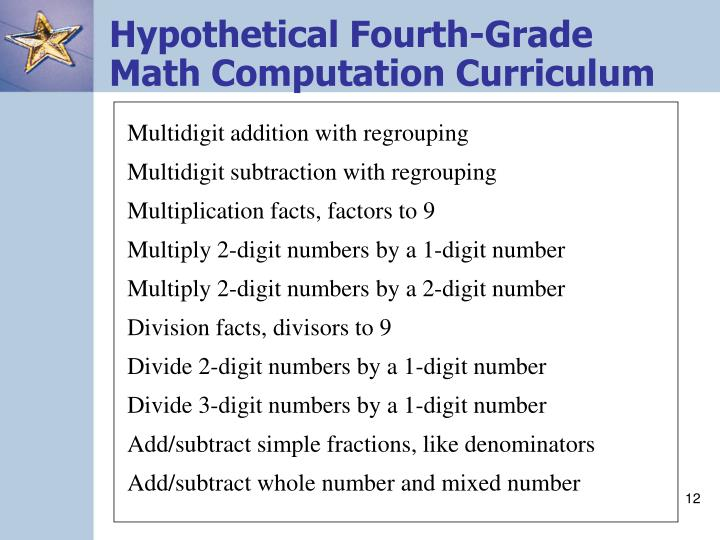 Hypothetical Fourth-Grade Math Computation Curriculum