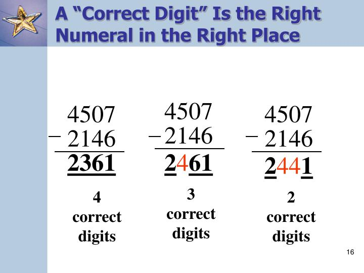 "A ""Correct Digit"" Is the Right Numeral in the Right Place"