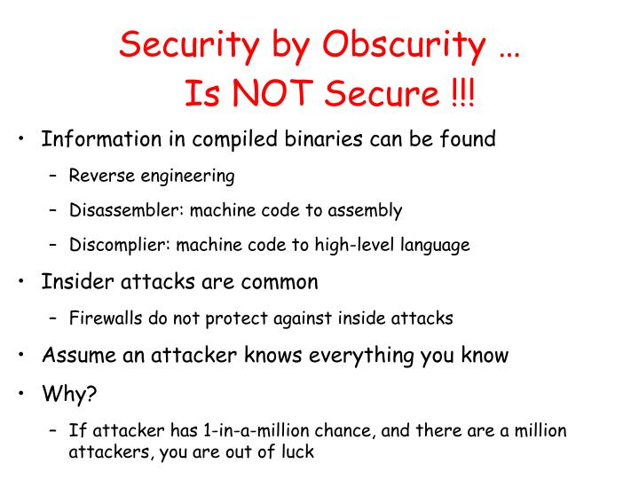 Security by Obscurity …