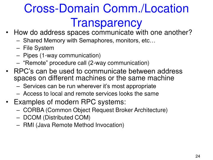 Cross-Domain Comm./Location Transparency